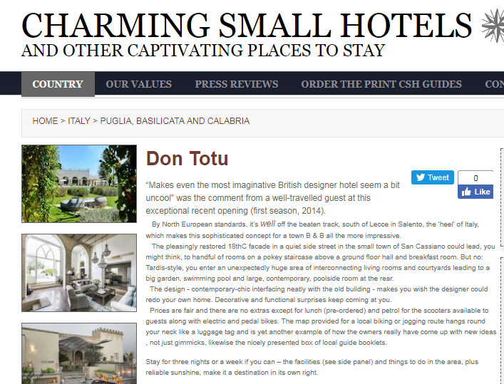 Charming small hotels about don totu for Charming small hotels italy